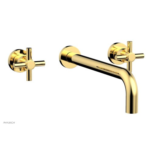 "Basic Wall Tub Set 12"" Spout - Tubular Cross Handles D1134-12 - Polished Gold"