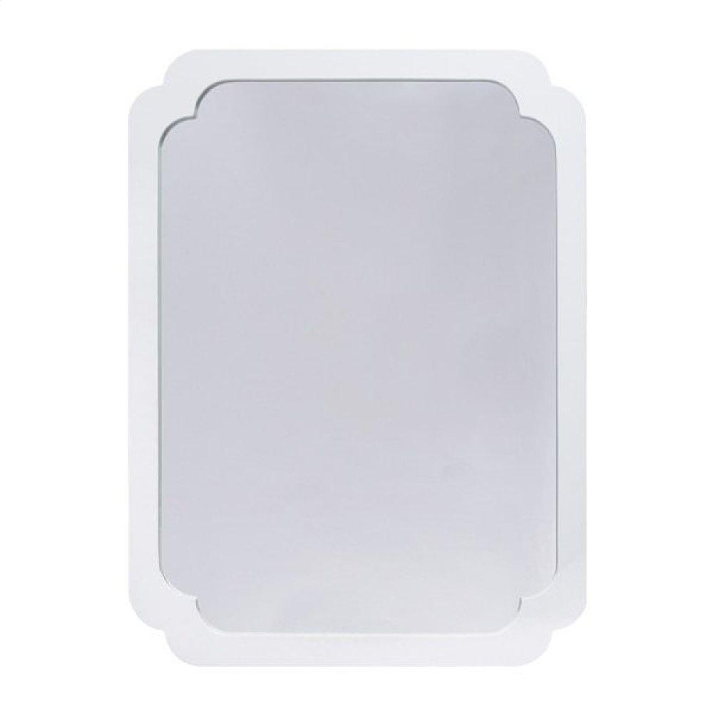 White Lacquer Pinched Corner Mirror.