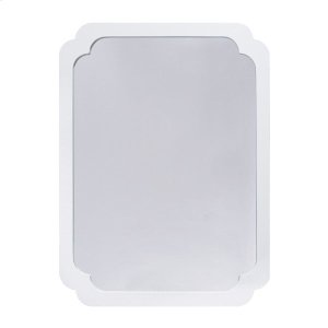 Worlds AwayWhite Lacquer Pinched Corner Mirror.