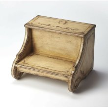 There's more than meets the eye with this unique step stool. Expertly crafted from poplar hardwood solids and wood products, this lovely step stool has attractively shaped sides with a delightful Gilted Cream hand painted finish. Sturdy enough to provide