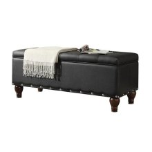 BLACK PU BENCH W/STORAGE