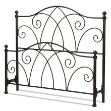 Deland Bed with Curved Grill Design and Finial Posts, Brown Sparkle Finish, Queen