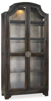 Living Room Sanctuary Glass Bunching Curio-Ebony Antiqued Oak Product Image