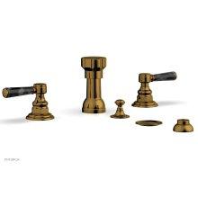 HENRI Four Hole Bidet Set - Black Marble Lever Handles 161-62 - French Brass