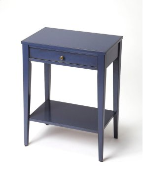 The Cobble Hill Navy Blue console table is a richly finished cherry veneer over hardwood solids. The sleek tapered legs support a lower shelf for additional storage. The single drawer with a metal pull is the perfect place to tuck away your remote control