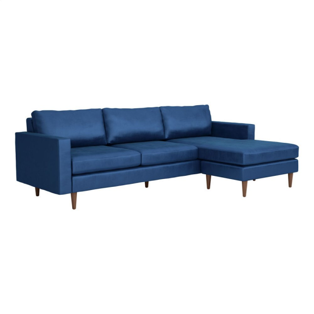 Kace Sectional Dark Blue Velvet