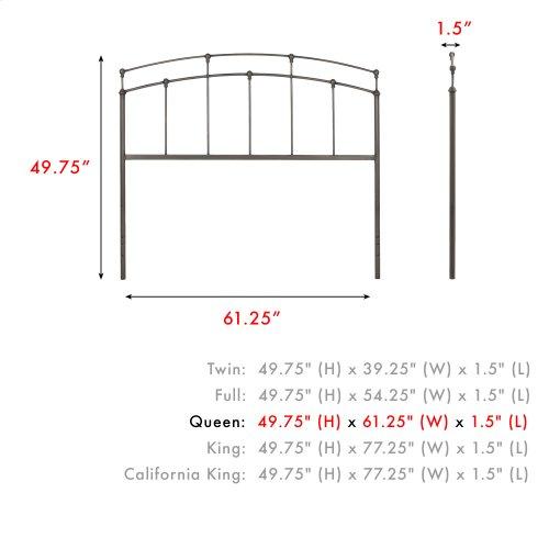 Fenton Metal Headboard Panel with Gentle Curves, Black Walnut Finish, Queen