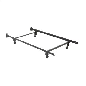 Inst-A-Matic Premium Bed Frame 738R with Headboard Brackets and (4) 2-Inch Locking Rug Roller Legs, Black Finish, Twin