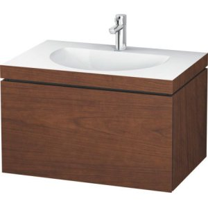 Furniture Washbasin C-bonded With Vanity Wall-mounted, American Walnut (real Wood Veneer)