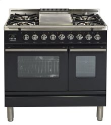 "36"" - 5 Burner, Double Oven w/ Griddle in Matte Graphite"