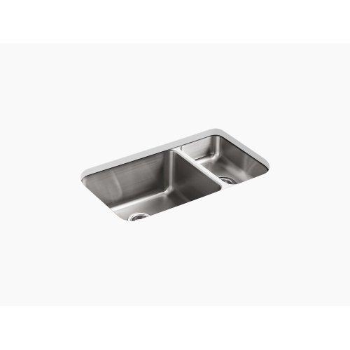 "31-1/2"" X 18"" X 9-3/4"" Under-mount High/low Double-bowl Kitchen Sink"