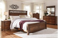 Lazzene - Medium Brown 3 Piece Bed Set (Cal King)