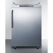 Freestanding Residential Outdoor Beer Dispenser, Auto Defrost With Digital Thermostat, Stainless Steel Wrapped Exterior, and Towel Bar Handle; Sold Without Tap Kit for Do-it-yourselfers Who Install Their Own Systems