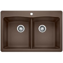 Blanco Diamond Equal Double Bowl With Ledge - Café Brown