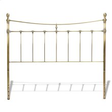 Leighton Metal Headboard with Rounded Posts and Scalloped Castings, Antique Brass Finish, Queen