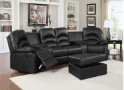Ventura Black Bonded Leather Reclining Theater Set with Storage Ottoman Product Image