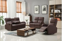 Alexander Brown Fabric Reclining Sofa with Drop-Down Console