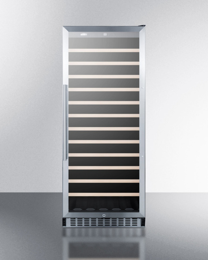 Summit102 Bottle Single-Zone Commercial Wine Cellar Designed For The Display And Refrigeration Of Beverages, With Glass Door, Digital Thermostat, And Black Cabinet