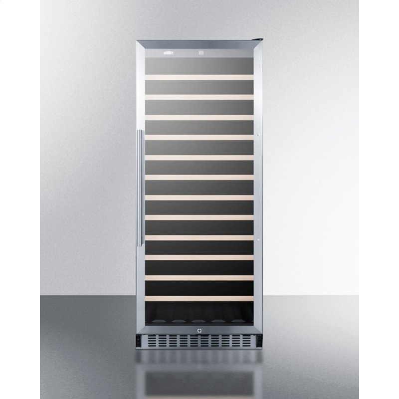 102 Bottle Single-zone Commercial Wine Cellar Designed for the Display and Refrigeration of Beverages, With Glass Door, Digital Thermostat, and Black Cabinet
