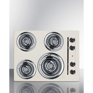 "Summit24"" Wide 220v Electric Cooktop In Bisque With 4 Coil Elements"