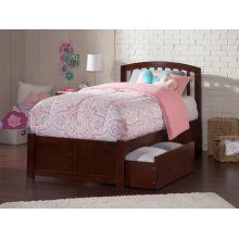 Richmond Twin XL Flat Panel Foot Board with 2 Urban Bed Drawers Walnut