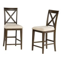 Lexi Pub Chairs Set of 2 with Oatmeal Cushion in Walnut