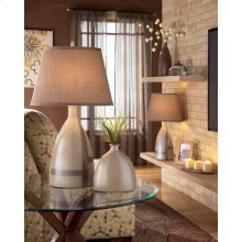 Ceramic Table Lamp (2/CN) Mia - Beige/Brown Collection Ashley at Aztec Distribution Centr Houston Texas