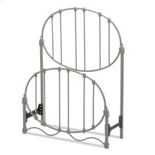 Emory Fashion Kids Metal Headboard and Footboard with Oval-Shape Spindle Panels and Decorative Curved Bed Base, Gray Finish, Twin