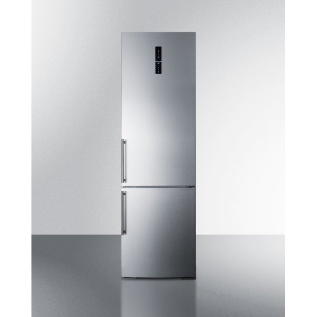 Summit European Counter Depth Bottom Freezer Refrigerator With Icemaker, Stainless Steel Doors, Platinum Cabinet, and Digital Controls for Each Section