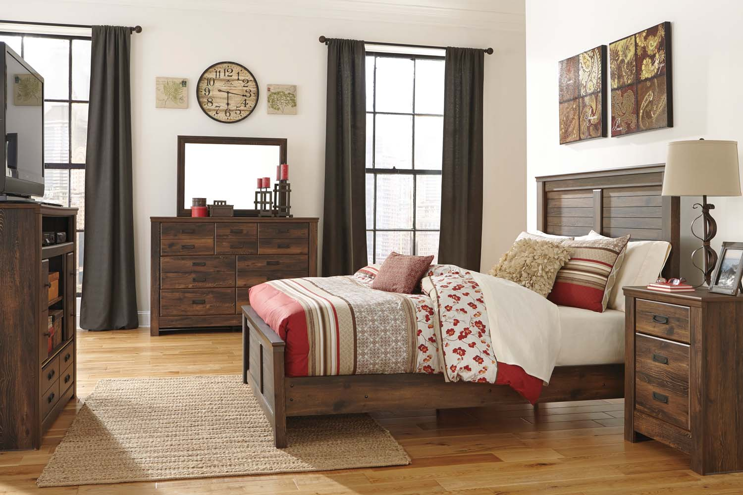 Quinden   Dark Brown 7 Piece Bedroom Set