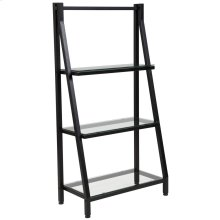 Glass Bookshelf with Black Metal Frame