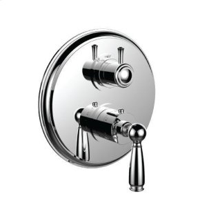 "1/2"" Thermostatic Trim With Volume Control and 3-way Diverter in Unlacquered Brass"