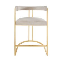 Barrel Back Gold Leaf Base Counter Stool In Cream Velvet