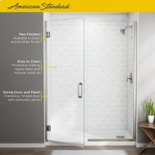 "Frameless Swing Shower Door with Panel 58-1/16""-59-9/16""  American Standard - Brushed Nickel"