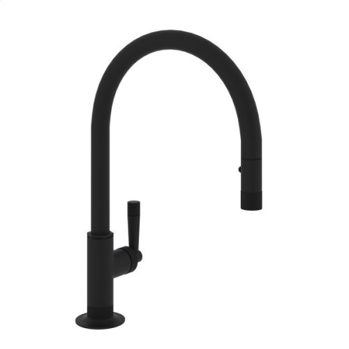 Matte Black Michael Berman Graceline Pull-Down Kitchen Faucet