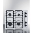 """24"""" Wide Sealed Burner Gas Cooktop In White With Cast Iron Grates and Spark Ignition, Made In the USA Product Image"""