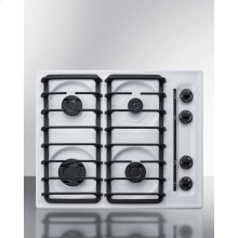 "24"" Wide Sealed Burner Gas Cooktop In White With Cast Iron Grates and Spark Ignition, Made In the USA"