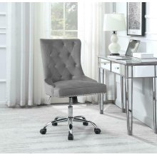 Modern Grey Velvet Office Chair