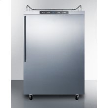 Freestanding Residential Outdoor Beer Dispenser, Auto Defrost With Digital Thermostat, Stainless Steel Wrapped Exterior, and Thin Handle; Sold Without Tap Kit for Do-it-yourselfers Who Install Their Own Systems