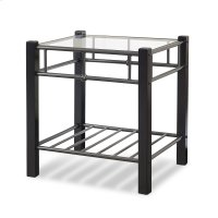 Scottsdale Metal and Wood Nightstand with Glass Surface, Black Speckle Finish, Twin Product Image