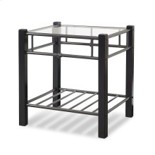 Scottsdale Metal and Wood Nightstand with Glass Surface, Black Speckle Finish, Twin