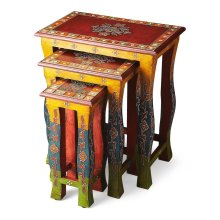 Vivid, vibrant colors with decorative overlays -- all entirely hand painted by a highly skilled artisan -- ensure these Nesting Tables stands out as original art. Crafted from recycled wood solids.
