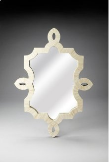 This magnificent Wall Mirror features sophisticated artistry and consummate craftsmanship. The botanic patterns covering the piece are created from white bone inlays cut and individually applied in a creamy blend by the hands of a skillful artisan. No two