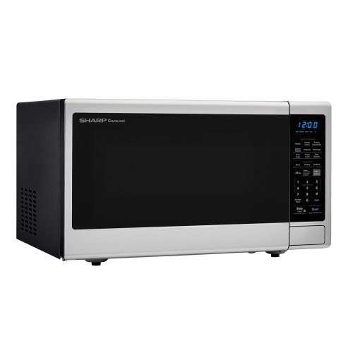 1.8 cu. ft. 1100W Sharp Stainless Steel Countertop Microwave with Black Mirror Door