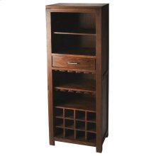 This sophisticate bar cabinet adds a warm feel to your entertainment space. It offers convenient shelf storage for upright bottles, glassware or display pieces, stemware holders, horizontal space for 12 bottles of your favorite vintage, and one drawer for