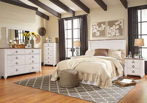 Willowton - Whitewash 2 Piece Bedroom Set
