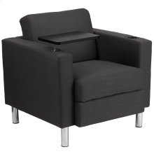Charcoal Gray Fabric Guest Chair with Tablet Arm, Tall Chrome Legs and Cup Holder