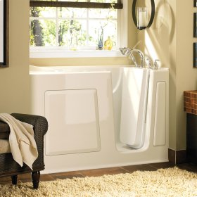 Gelcoat Value Series 30 x 60 Inch Walk-in Tub with Whirlpool System  Right Drain  American Standard - Linen