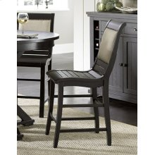 Counter Upholstered Chair - Distressed Black Finish