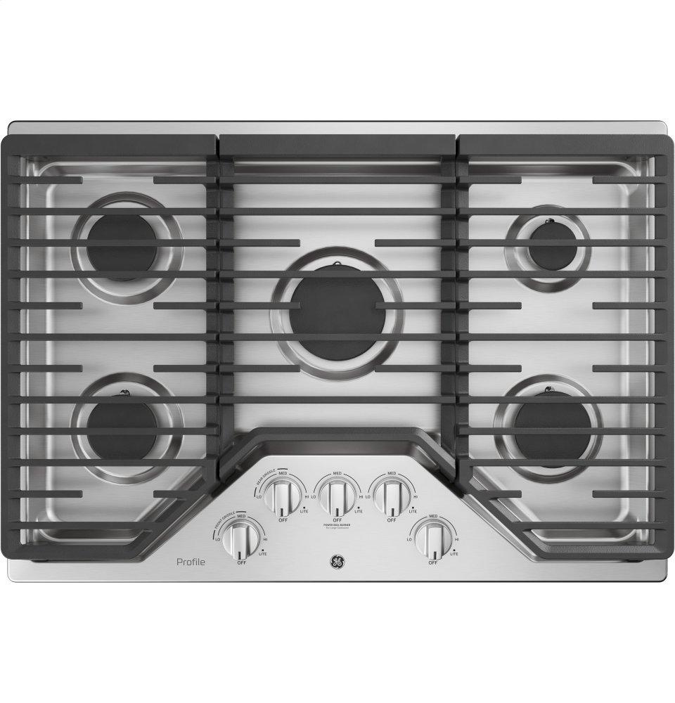 """GE Profile30"""" Built-In Gas Cooktop With 5 Burners And Optional Extra-Large Cast Iron Griddle"""